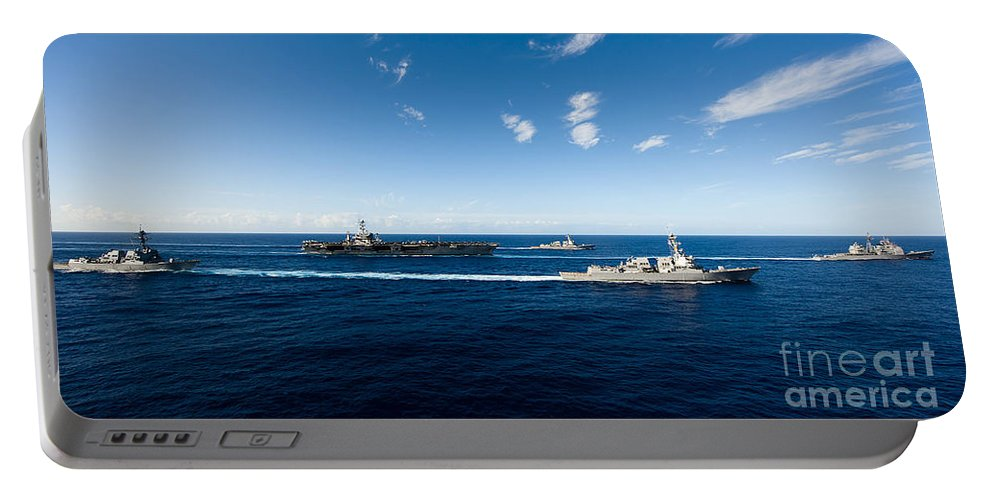 Uss John C Stennis Portable Battery Charger featuring the photograph Ships From The John C. Stennis Carrier by Stocktrek Images