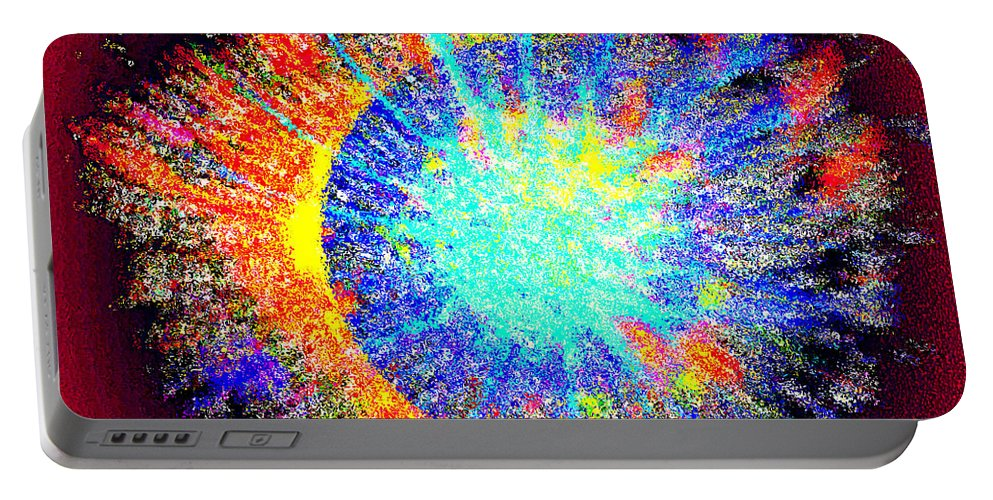 Sun Portable Battery Charger featuring the digital art Solar Flare by Klara Acel