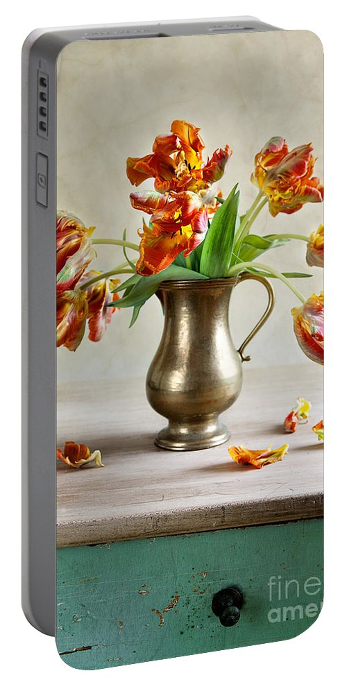 Petals Portable Battery Charger featuring the photograph Still Life With Tulips by Nailia Schwarz