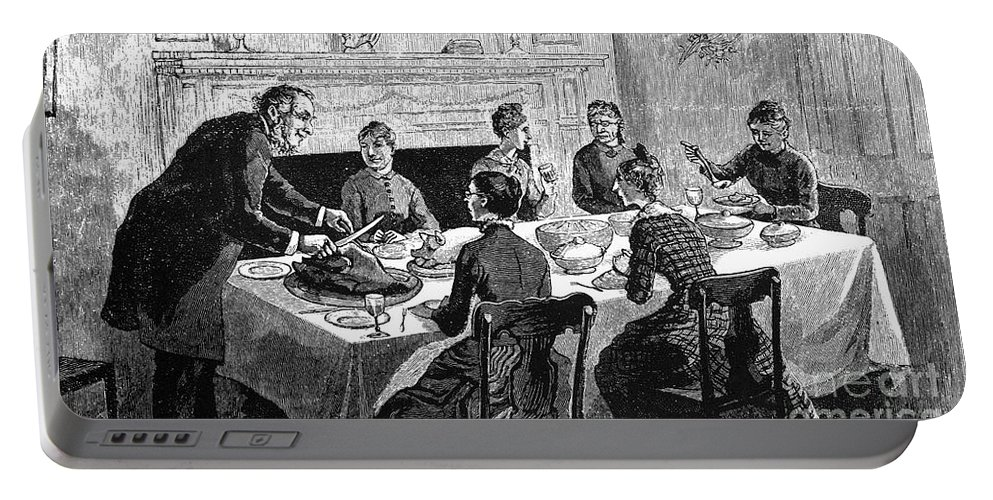 19th Century Portable Battery Charger featuring the photograph Thanksgiving, 19th Century by Granger