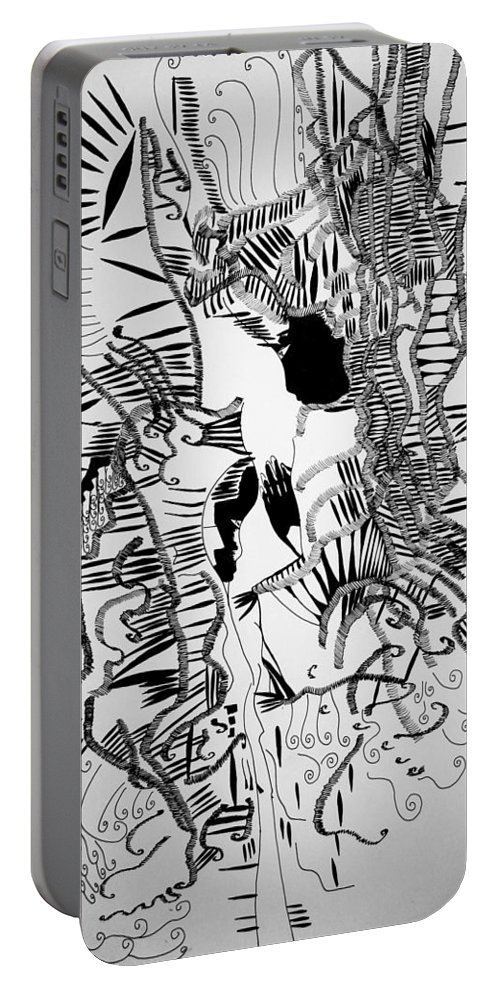 Jesus Portable Battery Charger featuring the drawing The Annunciation by Gloria Ssali