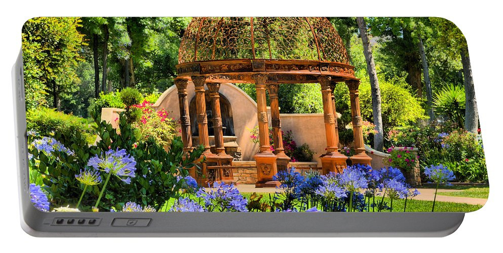 Gazebo Portable Battery Charger featuring the photograph Tuscan Garden by Lynn Bauer