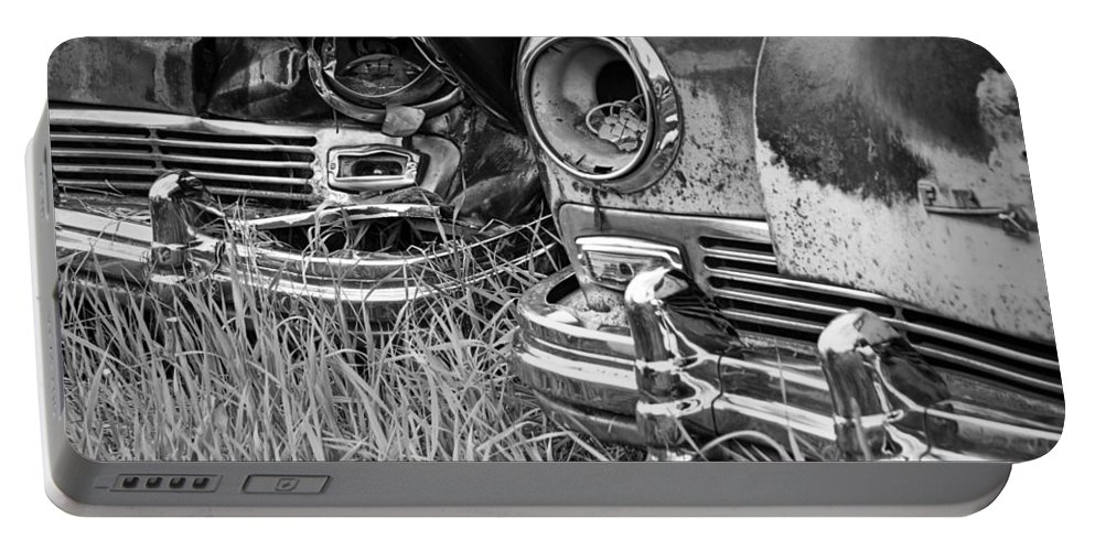 Art Portable Battery Charger featuring the photograph Vintage Frazer Auto Wreck Front Ends by Randall Nyhof