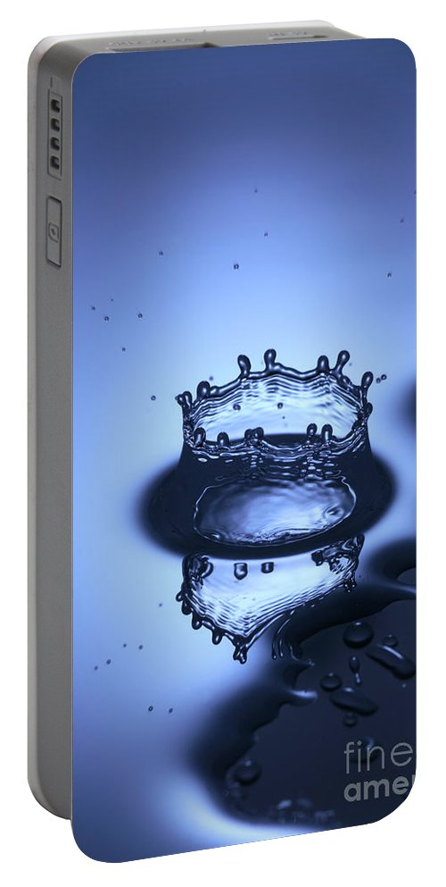 Water Portable Battery Charger featuring the photograph Water Drop Splashes by Ted Kinsman