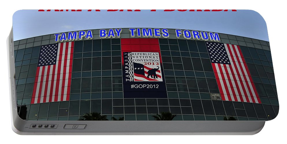 Fine Art Photography Portable Battery Charger featuring the photograph 2012 Gop Convention Site by David Lee Thompson