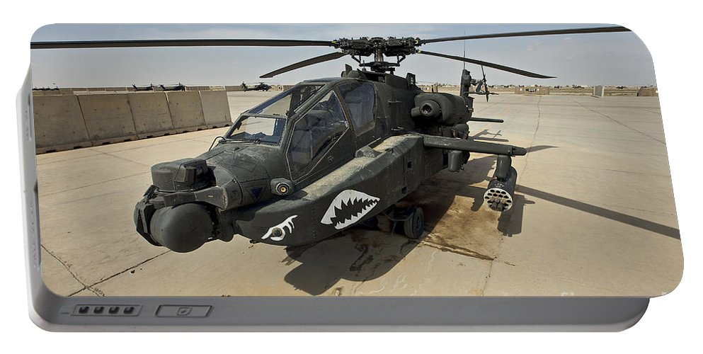 Ah-64 Portable Battery Charger featuring the photograph An Ah-64d Apache Helicopter At Cob by Terry Moore