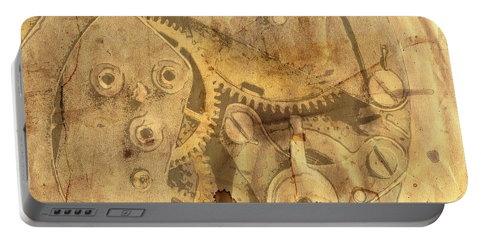 Paper Portable Battery Charger featuring the digital art Clockwork Mechanism by Michal Boubin