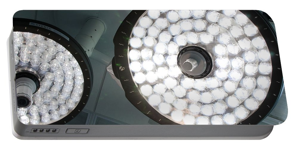 Above Portable Battery Charger featuring the photograph Led Surgical Lights by Photo Researchers, Inc.