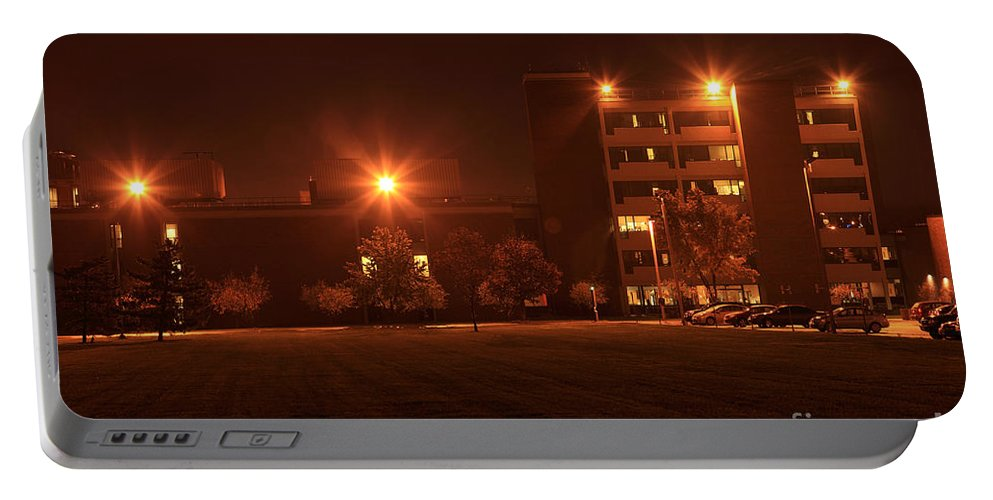 Light Portable Battery Charger featuring the photograph Sodium Vapor Lights On College Campus by Ted Kinsman