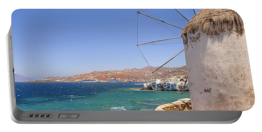Windmills Portable Battery Charger featuring the photograph Mykonos by Joana Kruse