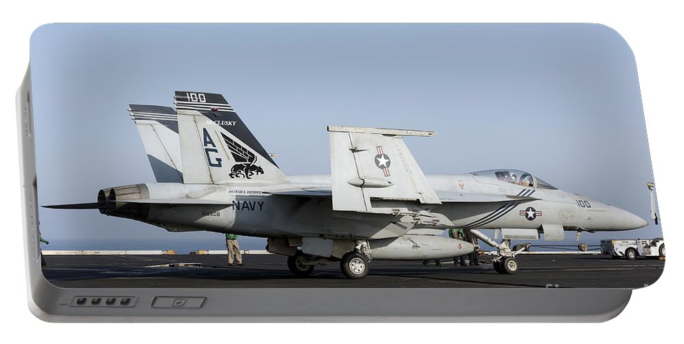 Arabian Sea Portable Battery Charger featuring the photograph An Fa-18e Super Hornet During Flight by Gert Kromhout