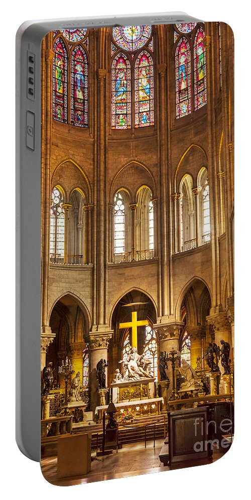 Alter Portable Battery Charger featuring the photograph Cathedral Notre Dame by Brian Jannsen
