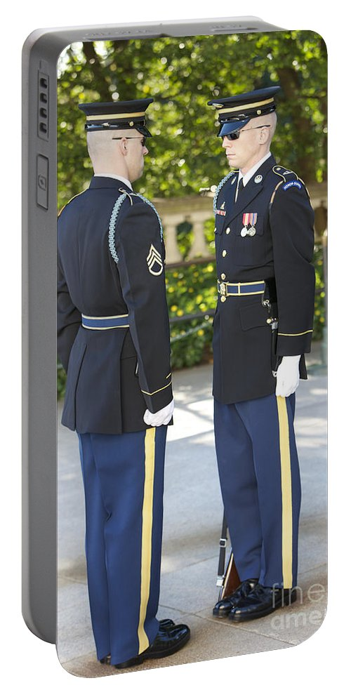 Vertical Portable Battery Charger featuring the photograph Changing Of Guard At Arlington National by Terry Moore