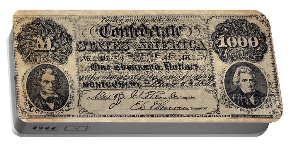 1000 Portable Battery Charger featuring the photograph Confederate Banknote by Granger