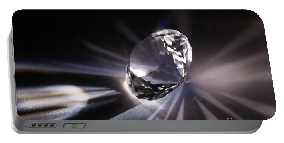 Quartz Portable Battery Charger featuring the photograph Faceted Quartz Gem by Ted Kinsman
