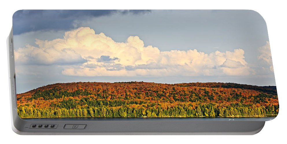 Autumn Portable Battery Charger featuring the photograph Fall Forest And Lake by Elena Elisseeva