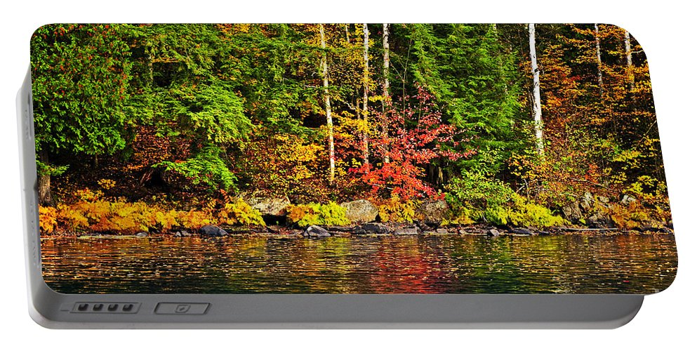 Autumn Portable Battery Charger featuring the photograph Fall Forest And River Landscape by Elena Elisseeva