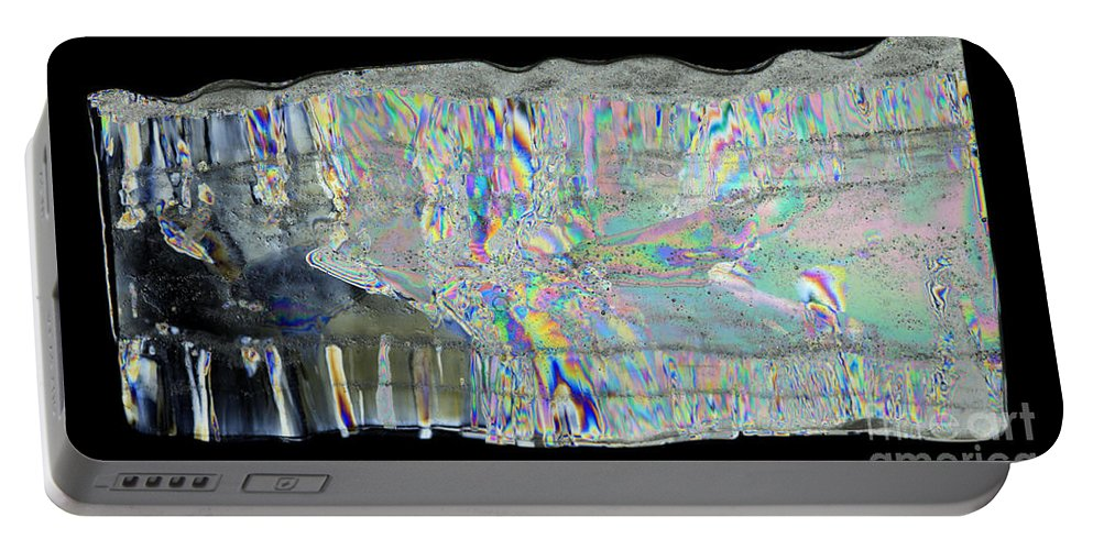 Ice Portable Battery Charger featuring the photograph Icicle Cross Section by Ted Kinsman