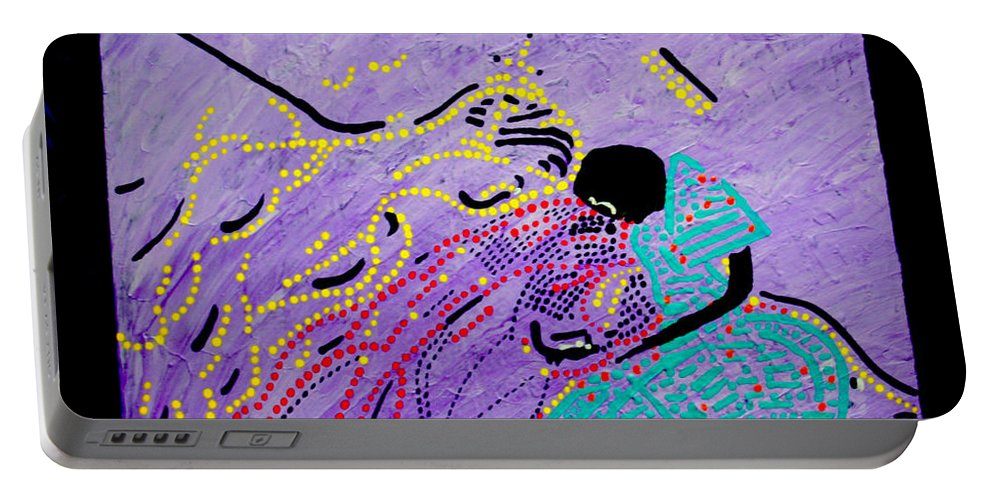 Jesus Portable Battery Charger featuring the painting Jesus And Mary by Gloria Ssali