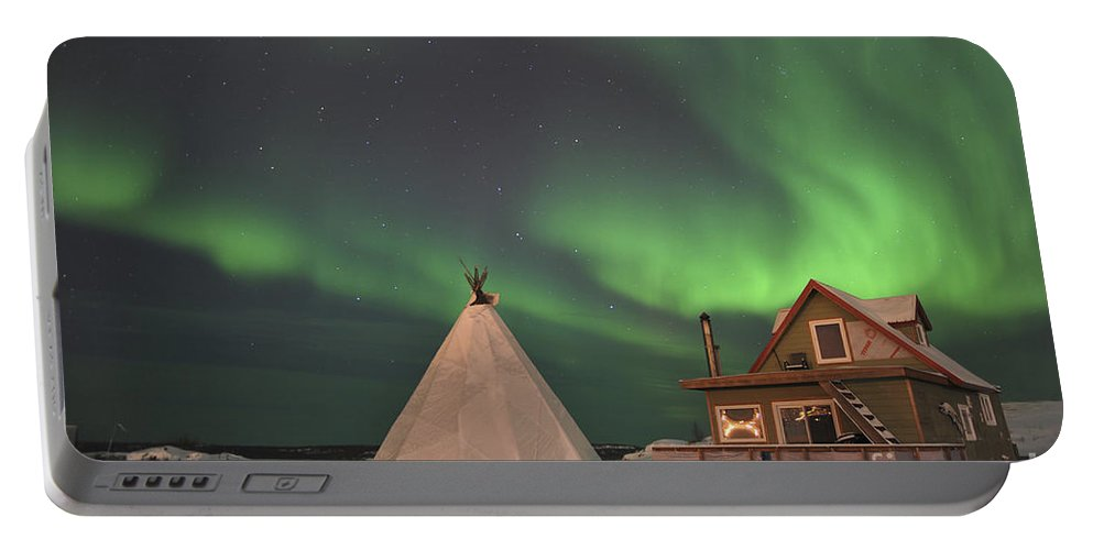 Yellowknife Portable Battery Charger featuring the photograph Northern Lights Above Village by Jiri Hermann