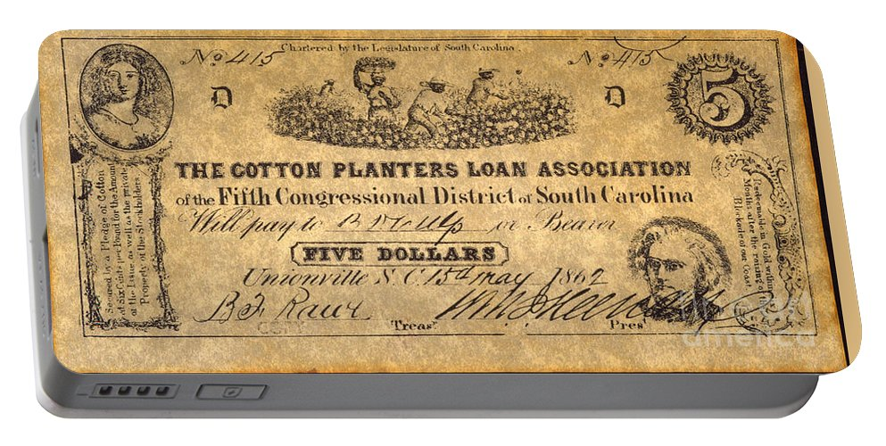 1862 Portable Battery Charger featuring the photograph Confederate Banknote by Granger