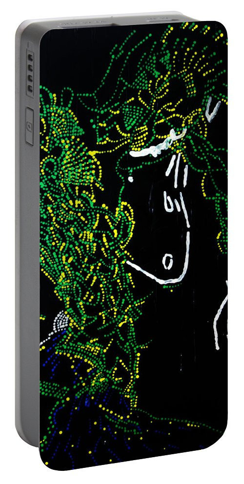 Jesus Portable Battery Charger featuring the painting Dinka Dance - South Sudan by Gloria Ssali