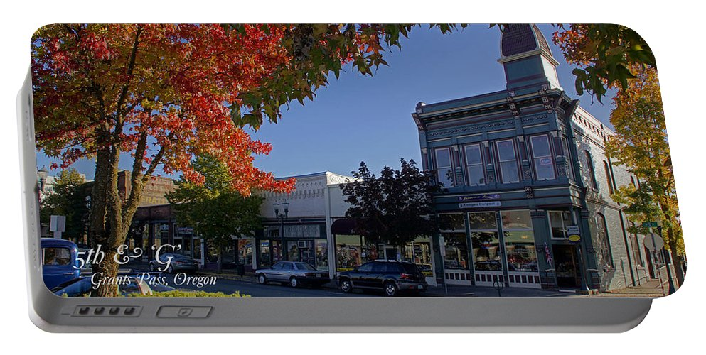 5th And G Portable Battery Charger featuring the photograph 5th And G Street In Grants Pass With Text by Mick Anderson