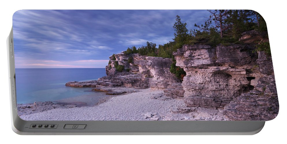 Georgian Bay Portable Battery Charger featuring the photograph Georgian Bay Cliffs At Sunset by Oleksiy Maksymenko
