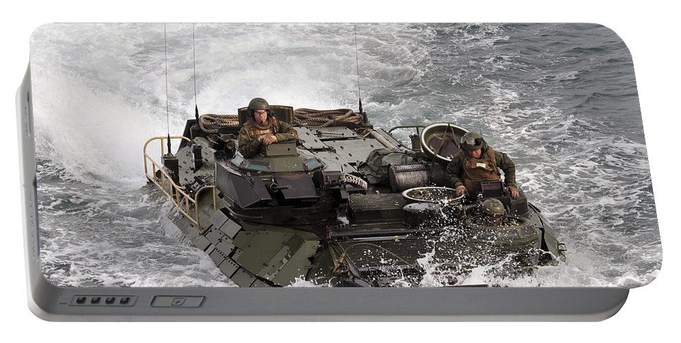Warship Portable Battery Charger featuring the photograph An Amphibious Assault Vehicle by Stocktrek Images