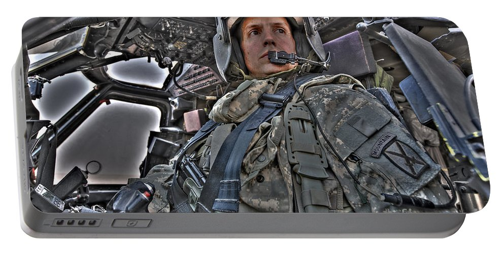 Aviation Portable Battery Charger featuring the photograph Hdr Image Of A Pilot Sitting by Terry Moore