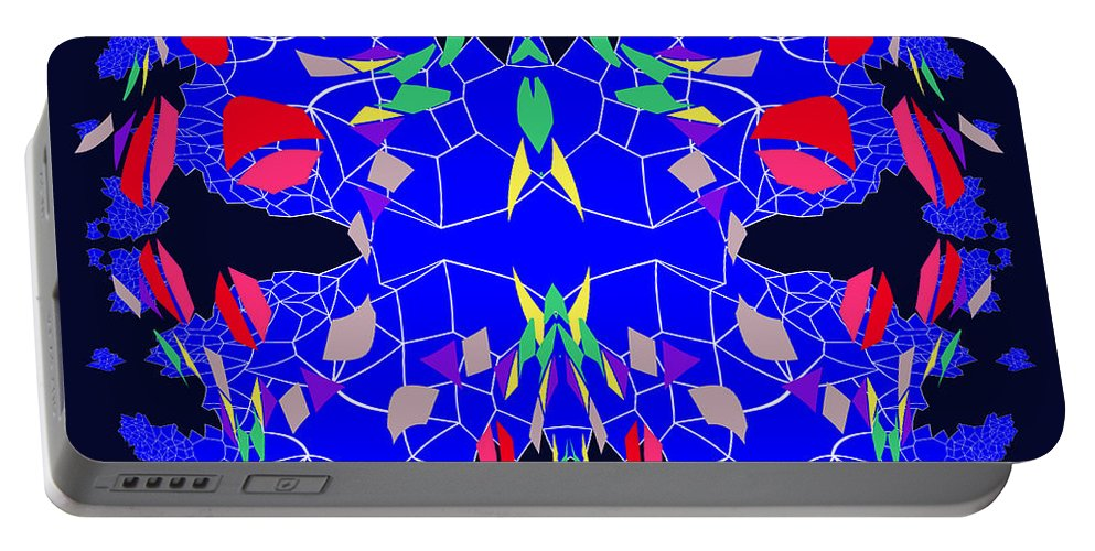 756 Design Portable Battery Charger featuring the painting 756 - Design by Irmgard Schoendorf Welch