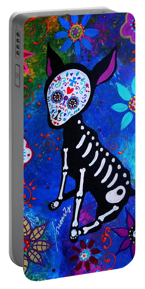 Day Of The Dead Chihuahua Portable Battery Charger featuring the painting Chihuahua Day Of The Dead by Pristine Cartera Turkus