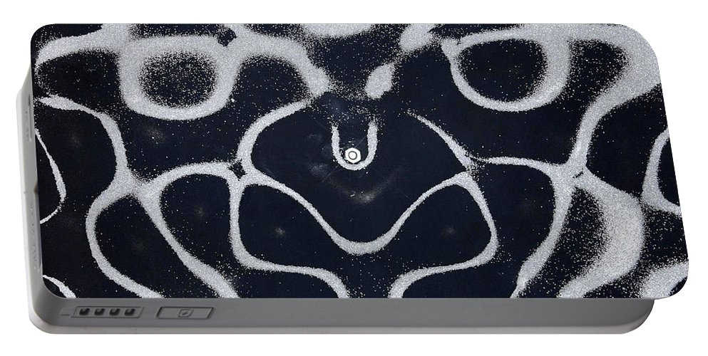 Sound Portable Battery Charger featuring the photograph Chladni Oscillations On Metal Plate by Ted Kinsman