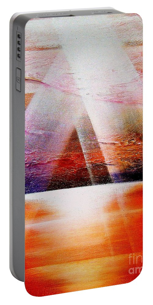 Sunrise.ocean.light.sunshine.landscape.healing.sea..brilliant.maiestic Portable Battery Charger featuring the painting Hope by Kumiko Mayer