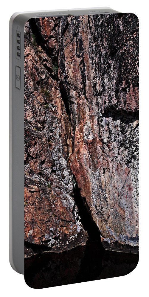 Lehtokukka Portable Battery Charger featuring the photograph Painted Rocks At Hossa With Stone Age Paintings by Jouko Lehto