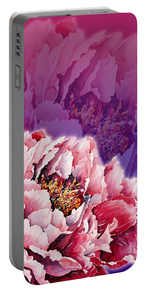 Peony Portable Battery Charger featuring the mixed media Peony by Zaira Dzhaubaeva