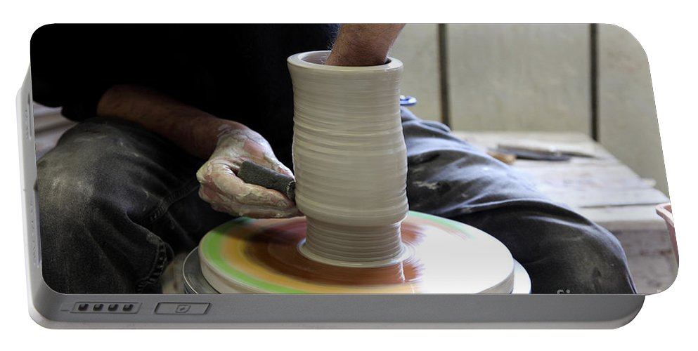 Clay Portable Battery Charger featuring the photograph Pottery Wheel, Sequence by Ted Kinsman
