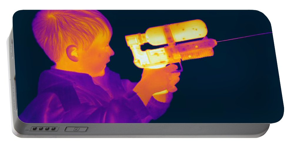 Thermogram Portable Battery Charger featuring the photograph Thermogram Of A Boy by Ted Kinsman