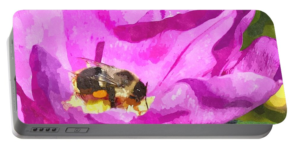 Bee Portable Battery Charger featuring the digital art A Bee In A Rose Brpwc by Jim Brage