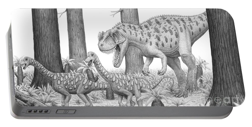 No People Portable Battery Charger featuring the digital art A Ceratosaurus Chasing Young by Heraldo Mussolini