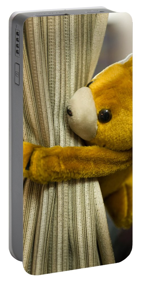 Cloth Portable Battery Charger featuring the photograph A Curtain With A Cute Stuffed Toy by Ashish Agarwal