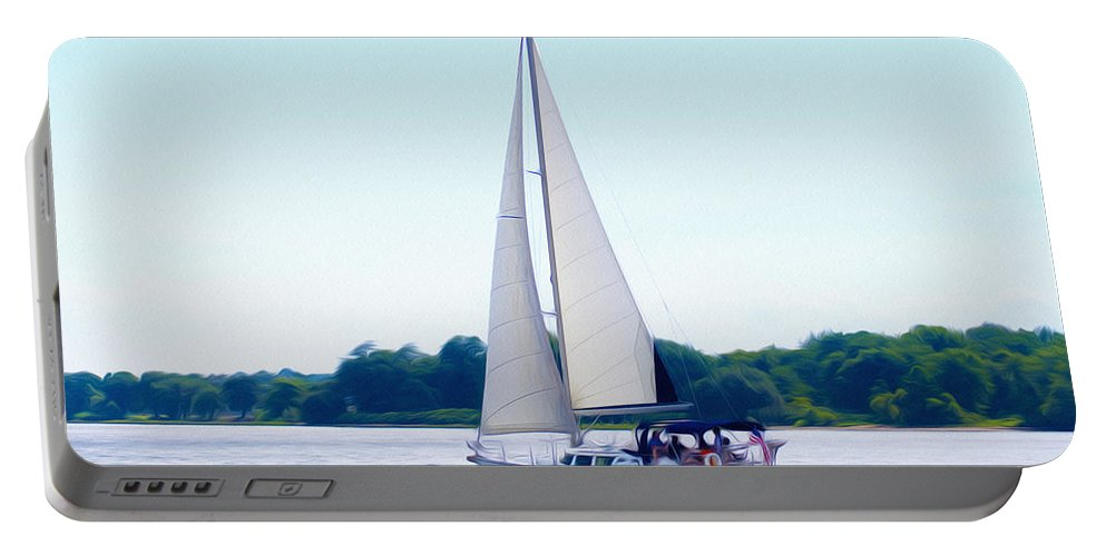 A Day Of Sailing Portable Battery Charger featuring the photograph A Day Of Sailing by Bill Cannon