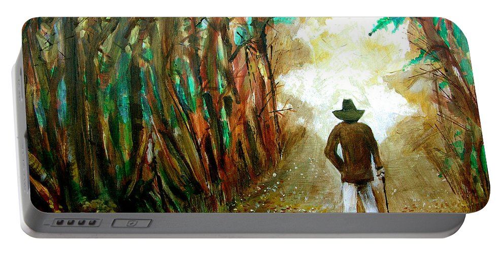 A Fall Walk In The Woods Portable Battery Charger featuring the painting A Fall Walk in the Woods by Seth Weaver