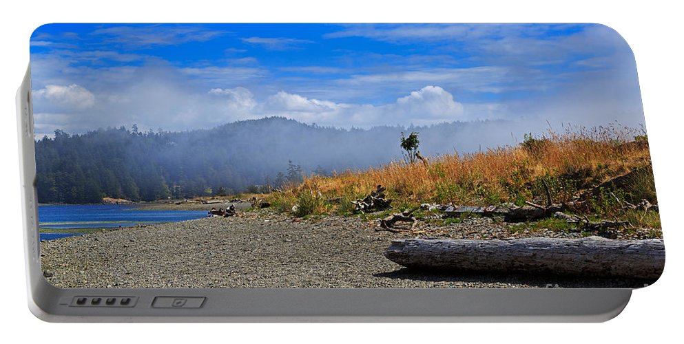 Fog Portable Battery Charger featuring the photograph A Foggy Morning At Whiffin Spit by Louise Heusinkveld