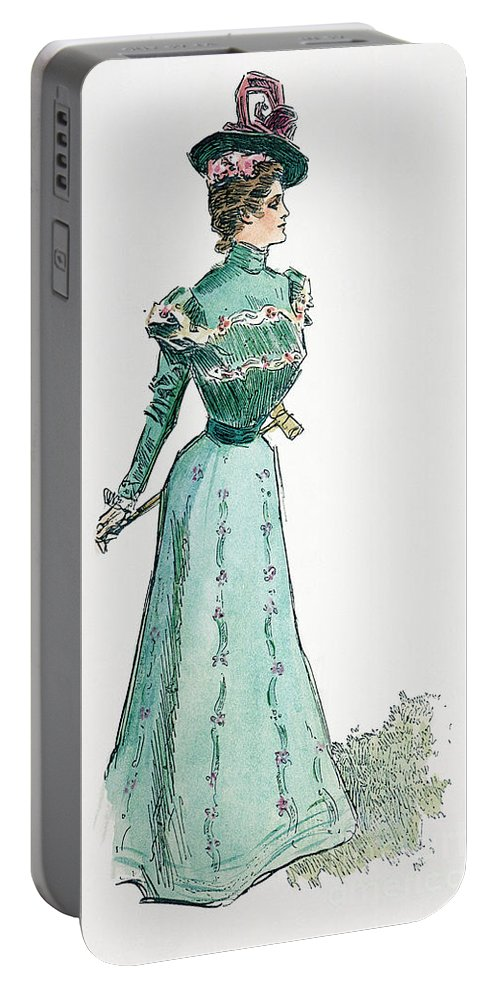 1899 Portable Battery Charger featuring the photograph A Gibson Girl, 1899 by Granger