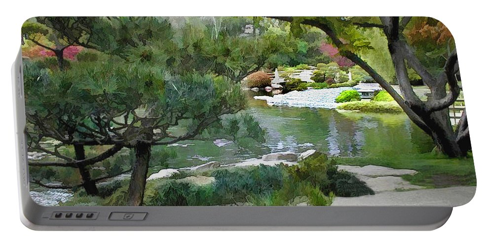 Japanese Garden Portable Battery Charger featuring the painting A Glimpse Of Tranquility by Elaine Plesser