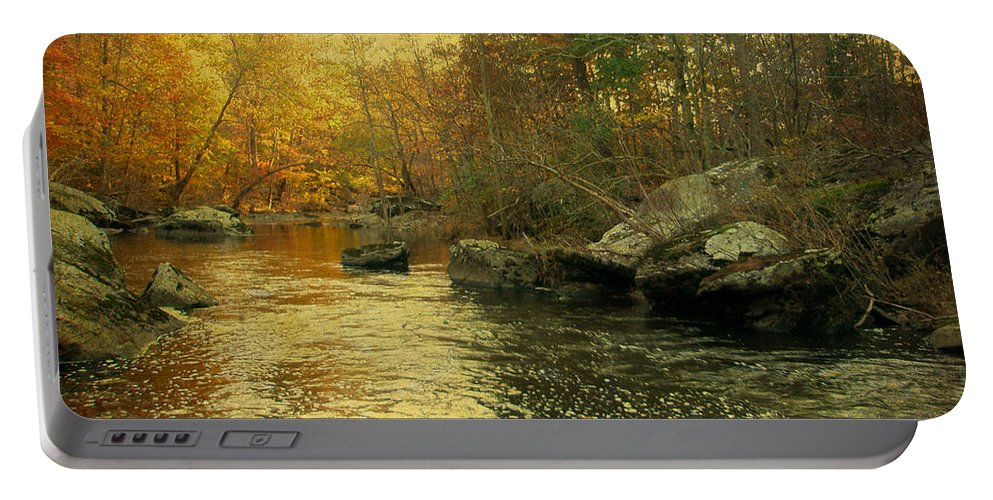 Creek Portable Battery Charger featuring the photograph A Golden Autumn At The Unami by Mother Nature