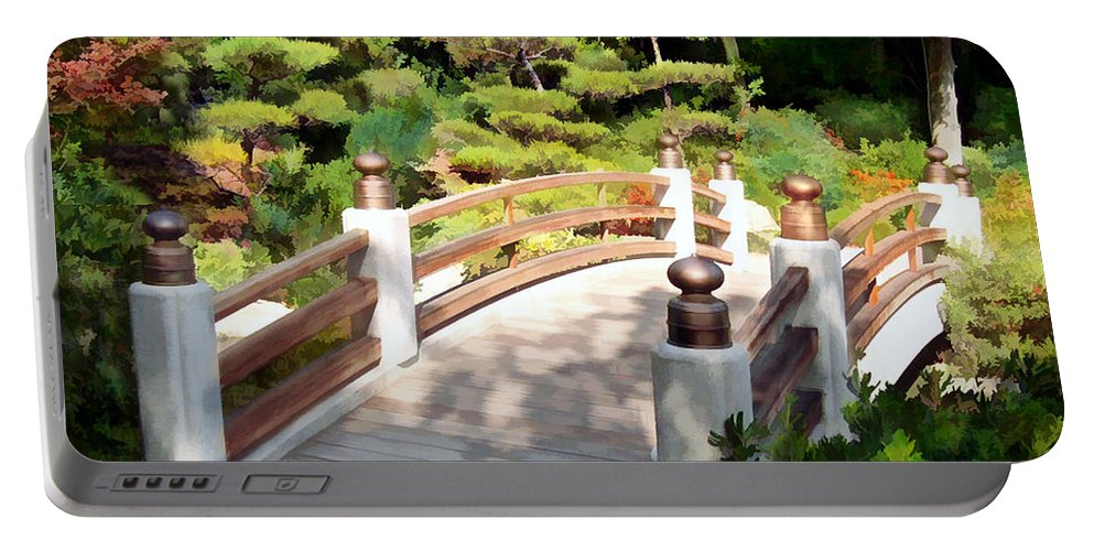 Japanese Garden Portable Battery Charger featuring the painting A Japanese Garden Bridge From Sun To Shade by Elaine Plesser