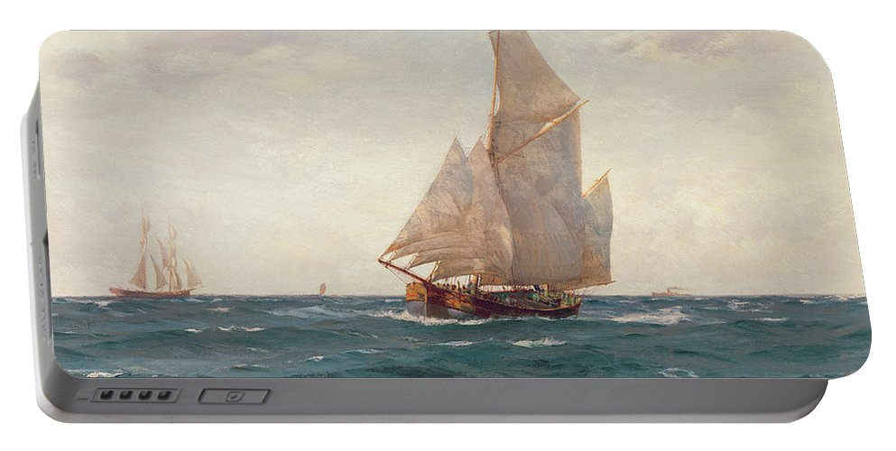 Sea; Ocean; Sails; Sail; Sailing; Ship; Boat; Sky; Clear Portable Battery Charger featuring the painting A Ketch And A Brigantine Off The Coast by Thomas J Somerscales