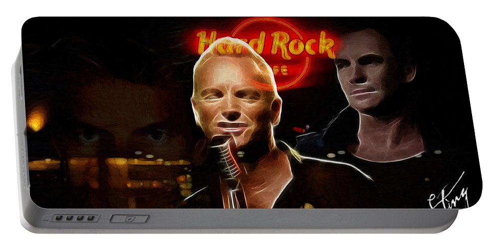 Sting Music Man Male Famous Star Police Gordon Rocks Rock Pop Neon Light Guitar Hero Playing Rocking Lights Bus Underground City Cityscape Portable Battery Charger featuring the painting A Life For The Music by Steve K